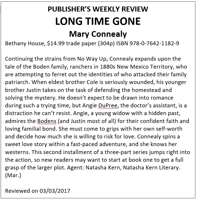 PUBLISHER REVIEW LONG TIME GONE